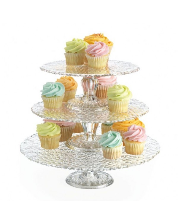 (OUT OF STOCK) THREE GLASS STACKING CAKE STANDS
